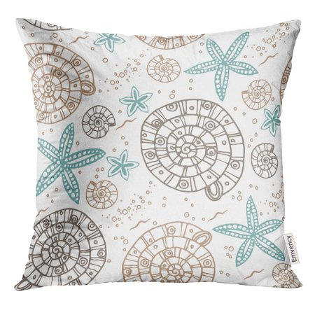 ARHOME Beige Hand Marine Pattern with Sea Shells and Stars Perfect Prints Brown Aqua Pillow Case 16x16 Inches Pillowcase (Aqua Shell)