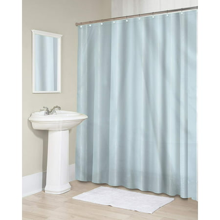 Splash Home Sheer Fabric Microfiber Shower Curtain Or Liner With 12 Chrome Metal Roller Hooks For
