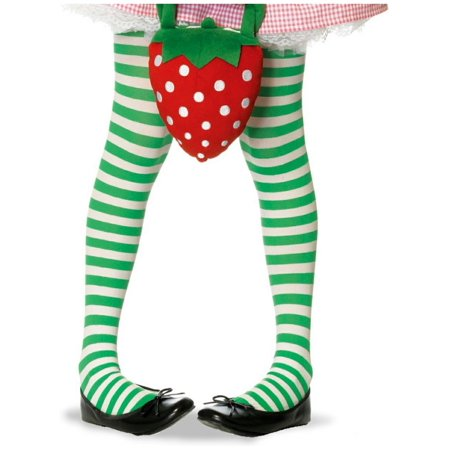 Leg Avenue Children's Striped Tights, Stocking, White/ Kelly Green, (Halloween Stocking)