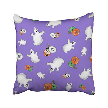 WinHome Cute Colorful Halloween Ghosts And Balloons Print Pattern Watercolor Polyester 18 x 18 Inch Square Throw Pillow Covers With Hidden Zipper Home Sofa Cushion Decorative - Cute Halloween Cover Photos