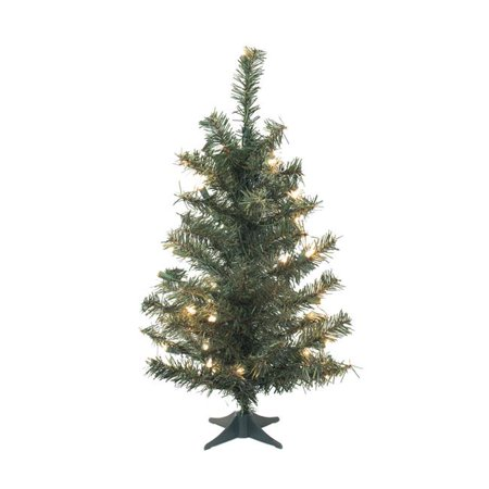 Canadian Dura-Lit Tabletop Tree with Plastic Stand & LED Multi-Color Lights, 36 in.