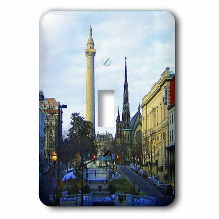 Baltimore Single (3dRose Washington Monument and Mount Vernon Place United Methodist Church, Baltimore - Single Toggle Switch)