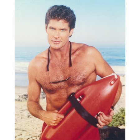 David Hasselhoff Posed in a Lifeguard Costume Photo Print - Hasselhoff Costume