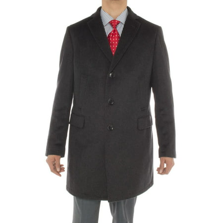 Luciano Natazzi Men's Cashmere Trench Coat Classic Modern Topcoat Overcoat Charcoal Gray