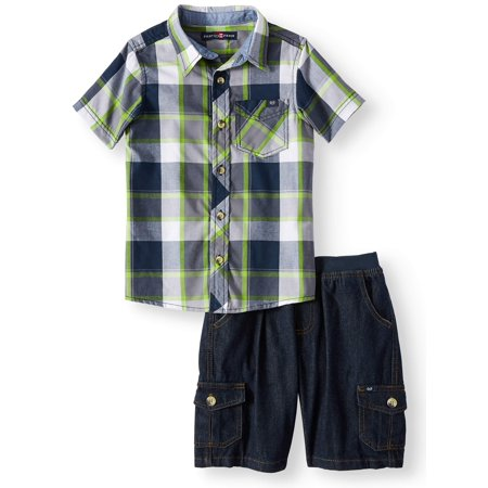 Phat Farm Short Sleeve Plaid Button Up Top with Twill Short, 2-Piece Set (Little -