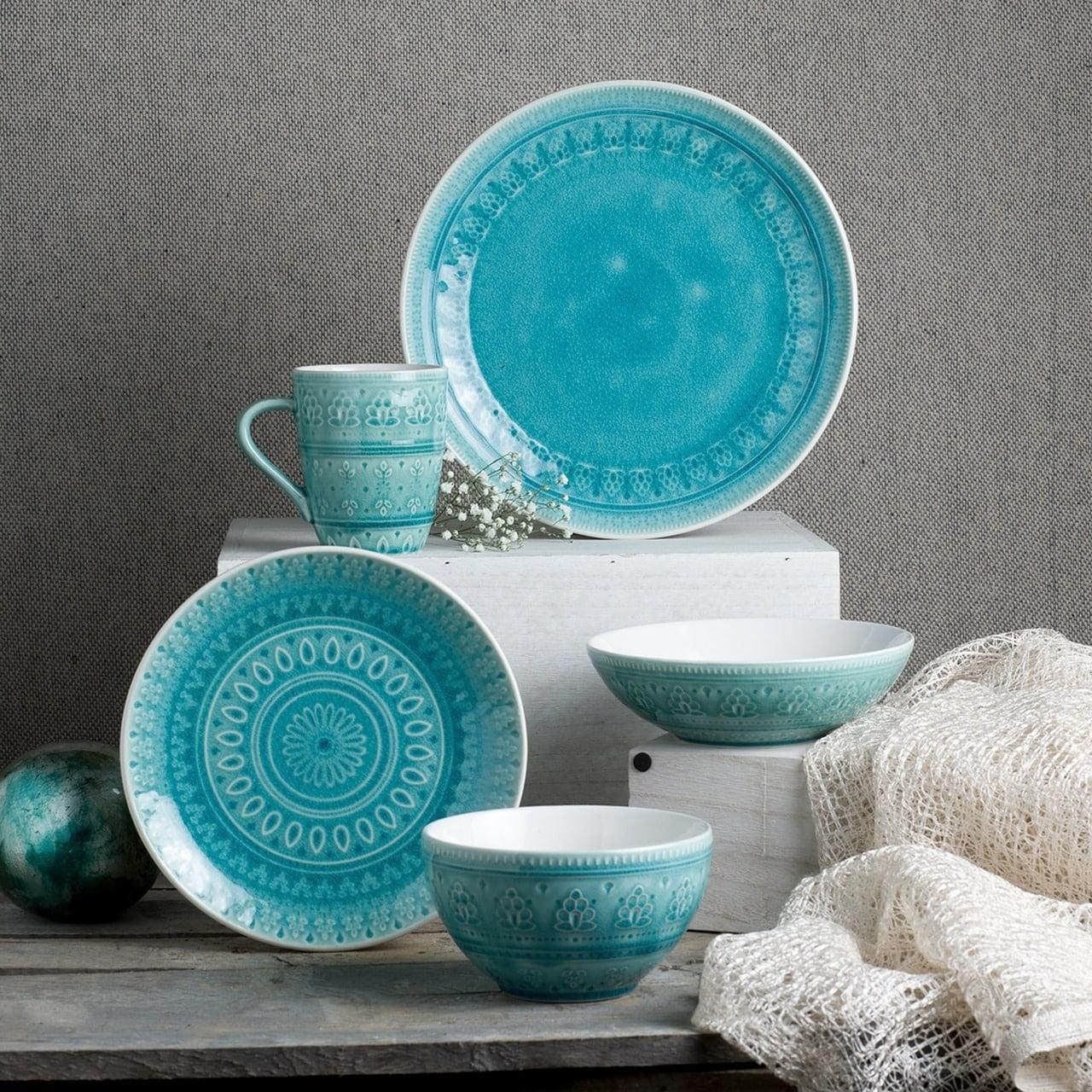Euro Ceramica Inc Euro Ceramica Fez 20 Piece Crackle Glaze Dinnerware Sets Service For 4 Walmart Com Walmart Com