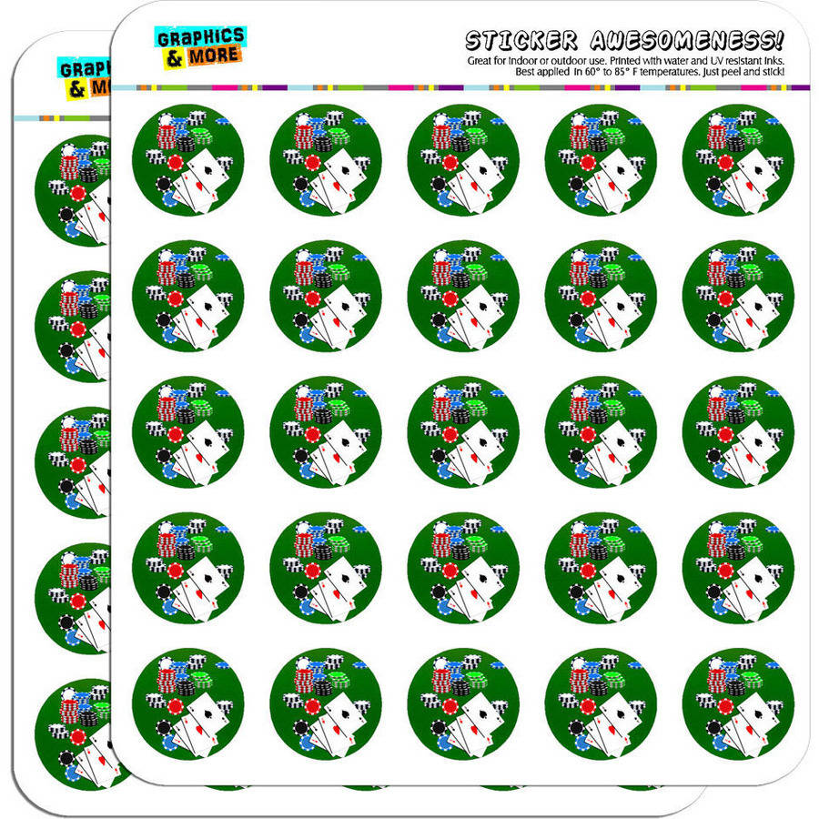 "Poker Aces Cards Chips Gambling 50 1"" Planner Calendar Scrapbooking Crafting Stickers"