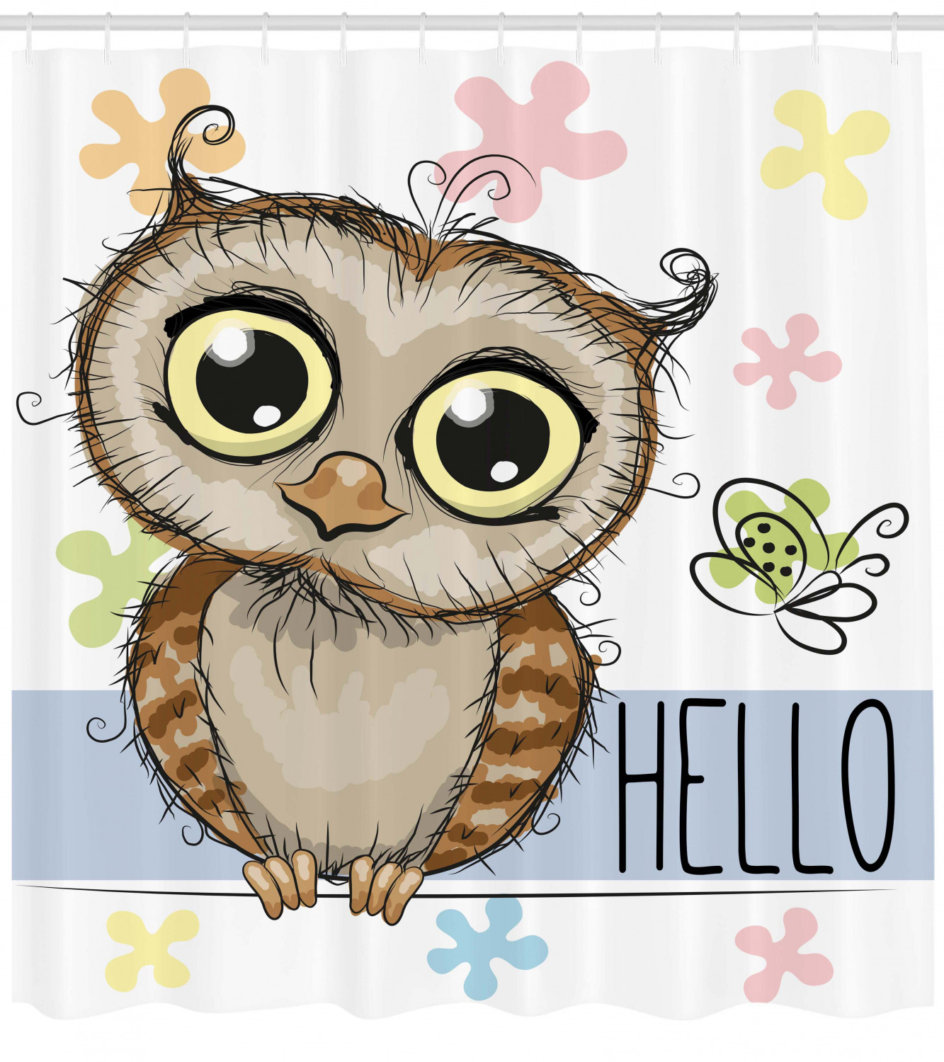 Owls Home Decor Shower Curtain Set Cartoon Owl And A Butterfly On A Floral Background With Hello Message Illustration Bathroom Accessories 69w X 70l Inches By Ambesonne Walmart Com Walmart Com