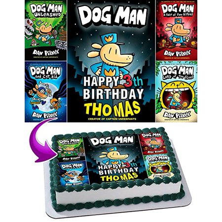 Dog Man Edible Image Cake Topper Personalized Birthday 1 4 Sheet Decoration Custom Party