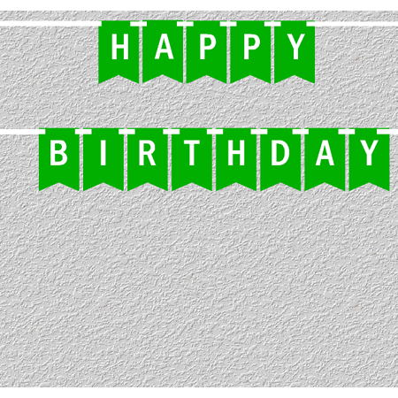 Green and White Happy Birthday Bunting Letter