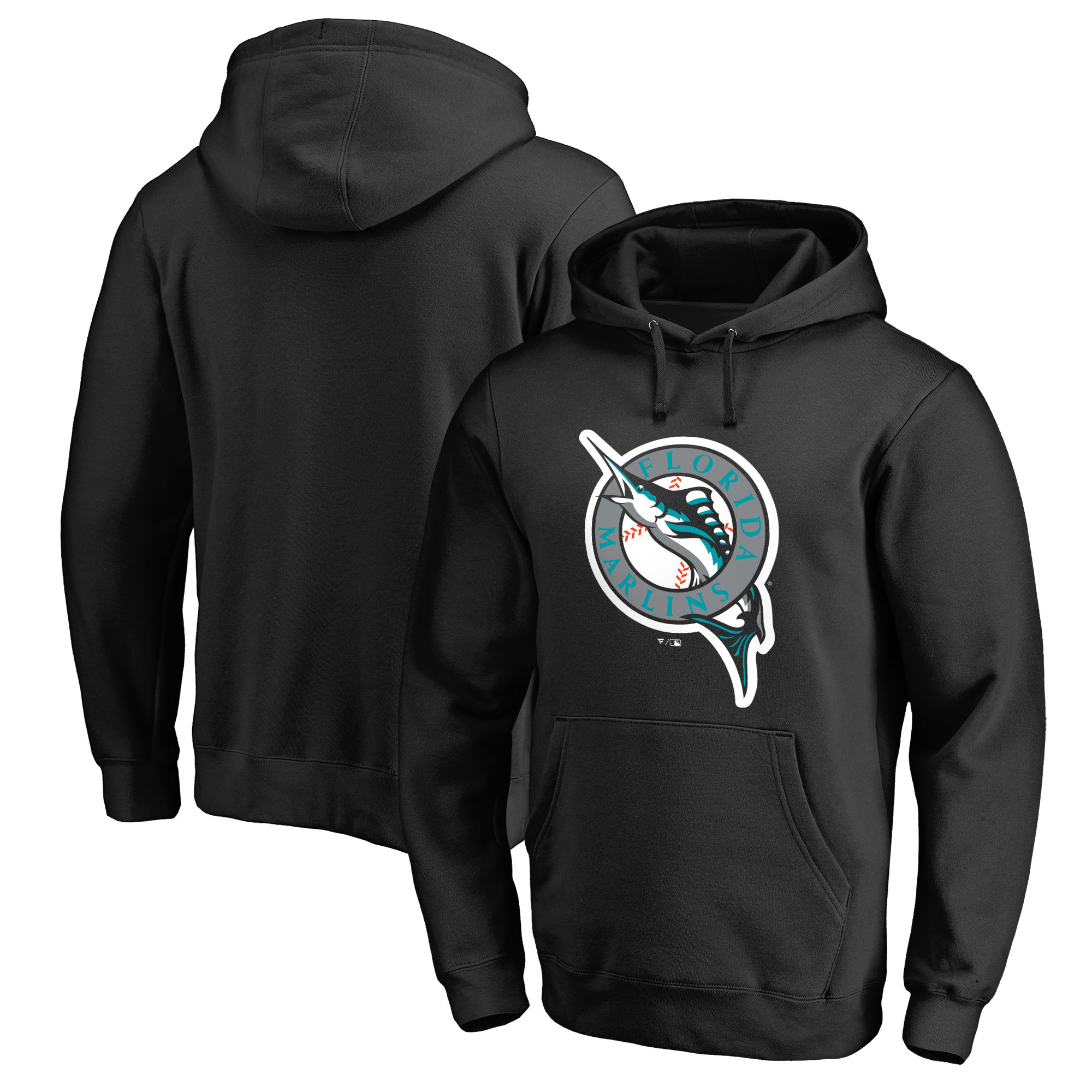 Miami Marlins Fanatics Branded Cooperstown Collection Huntington Pullover Hoodie - Black