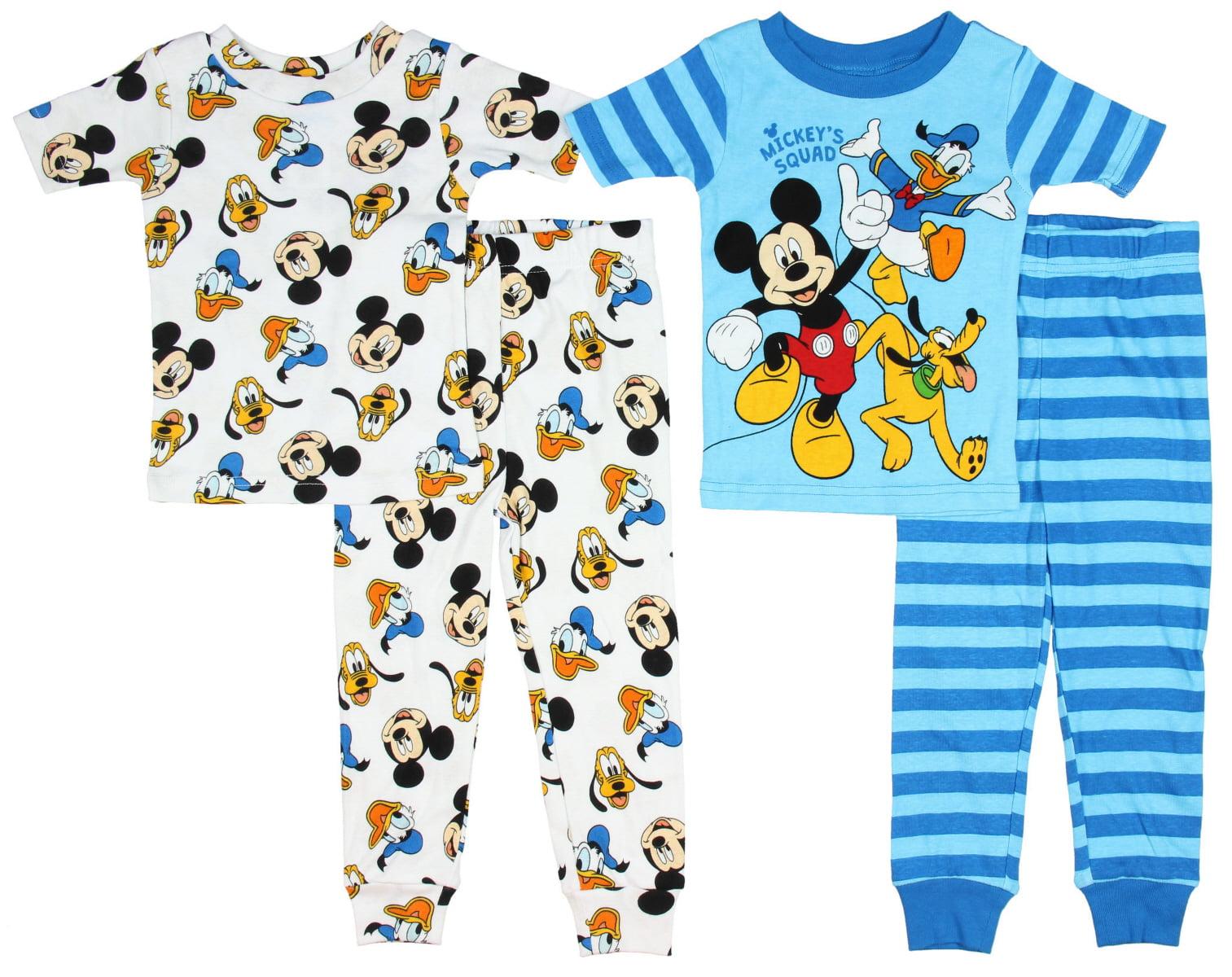 Mickey Mouse Disney Boys Size 12 Months 4 Piece Sleepwear Set