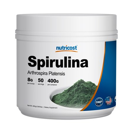 Nutricost Spirulina Powder 400 Grams - Pure, High Quality Spirulina Powder, 8000mg Per Serving, 50 (Cashew Spirulina)