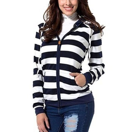Women's Striped Zipper Casual Hoodie Coat Winter New Fashion Sweatshirts Outwear