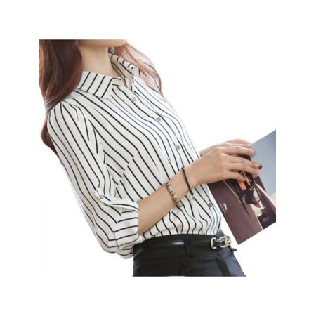 EFINNY Womens Long Sleeve Button Down Striped Office Shirts