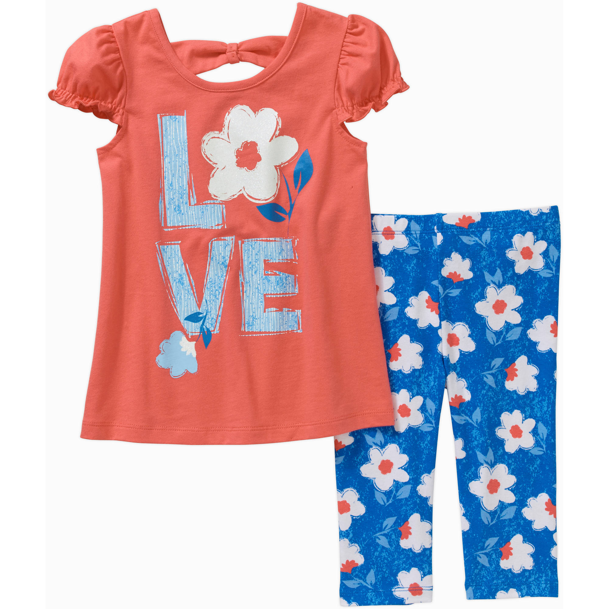 Healthtex Toddler Girls' Short Sleeve Knit Tunic and Leggings Outfit Set