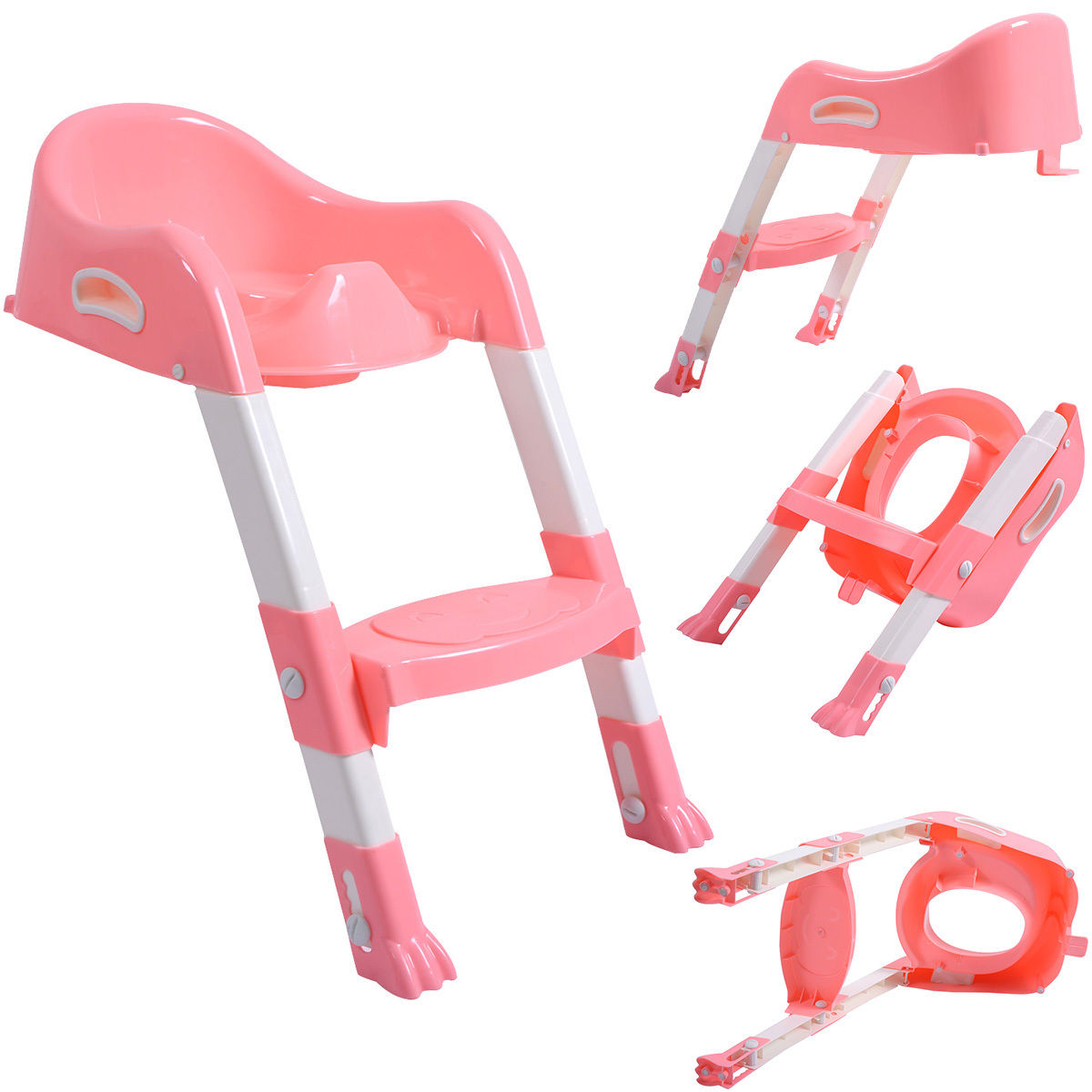 Goplus Kid Training Toilet Potty Trainer Seat Chair Toddler W/Ladder Step Up Stool Pink
