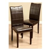 Eveleen Bi-cast Leather Dining Chairs in Brown - Set of 2
