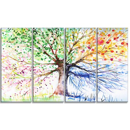 (Design Art Four Seasons Tree Floral 4 Piece Painting Print on Wrapped Canvas Set)