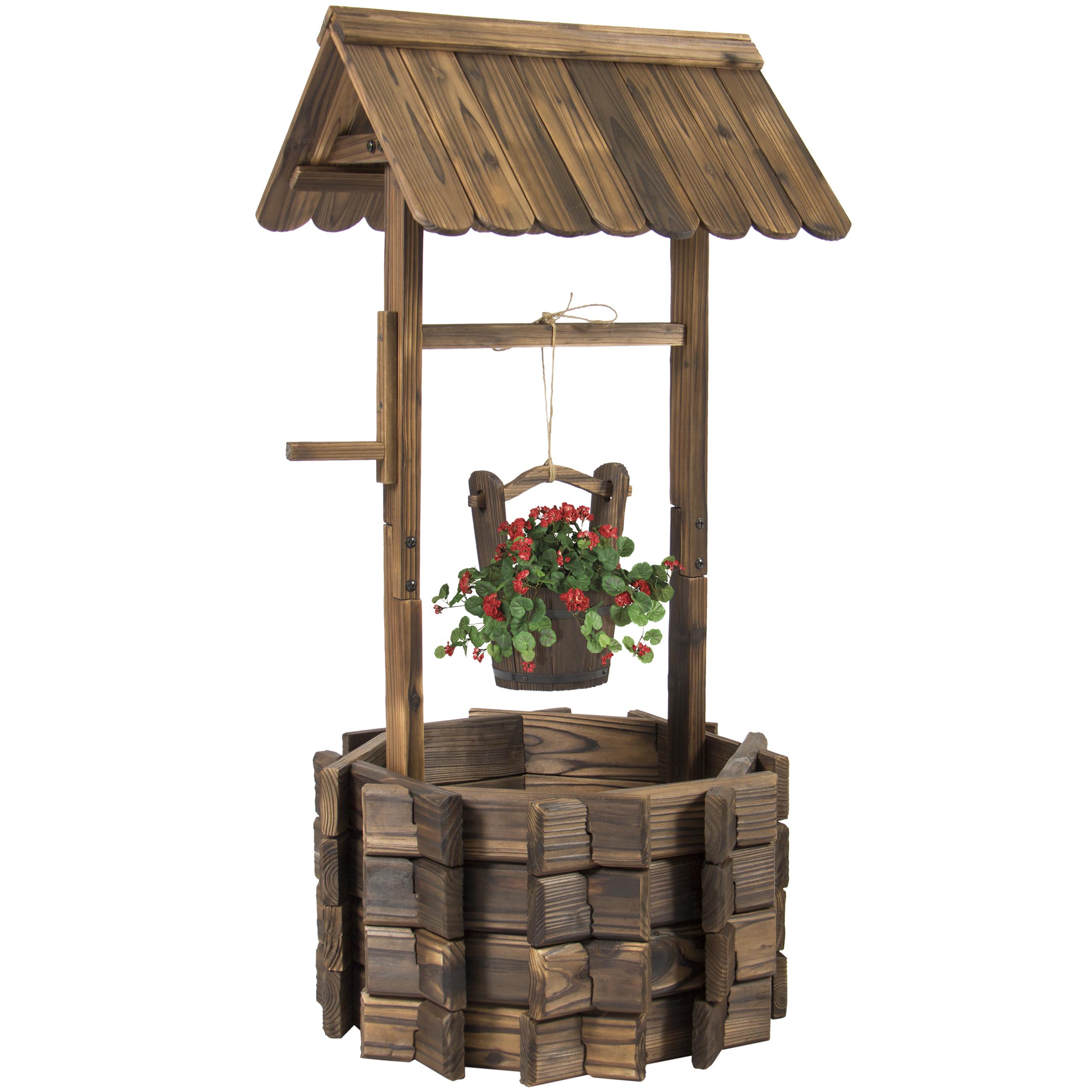 Best Choice Products Outdoor Patio Garden Wooden Flower Wishing Well Bucket Planter -Brown