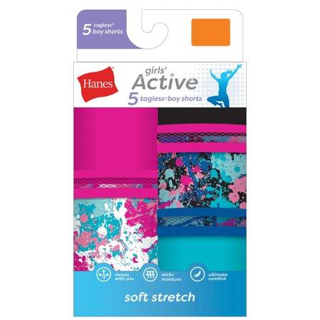 Girls' Active Tagless Boyshorts, 5 Pack