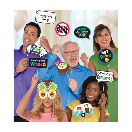 Amscan Amscan Happy Retirement Celebration Photo Booth Props (13pc Set) Novelty Party Supplies