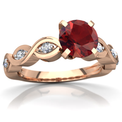 Garnet Infinity Engagement Ring in 14K Rose Gold by