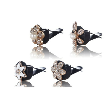 Card Decorations (MINI-FACTORY Bling Car Accessories Interior Air Vent Crystal Rhinestone Diamond Flowers Decoration (4)