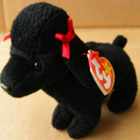 Toy Poodle Dog - TY Beanie Babies GiGi the Poodle Dog Stuffed Animal Plush Toy - 7 inches long - Black