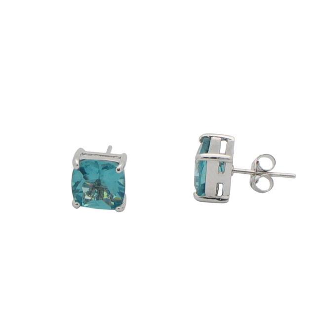 7 mm Sterling Silver Princes Cut Aquamarine Zirconia Earrings Studs - image 1 de 1