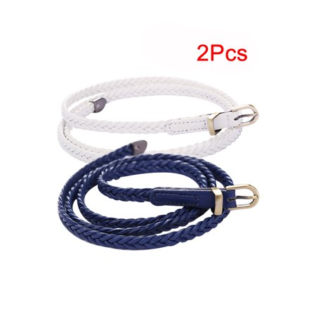 Unique Bargains Women's Arrow Tail Matel Keeper Woven Slender Belt Navy Blue+White - image 2 de 7