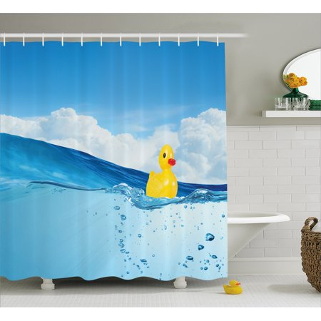 Rubber Duck Shower Curtain, Little Duckling Toy Swimming in Pond Pool Sea Sunny Day Floating on Water, Fabric Bathroom Set with Hooks, Blue and Yellow, by - Shower Duck