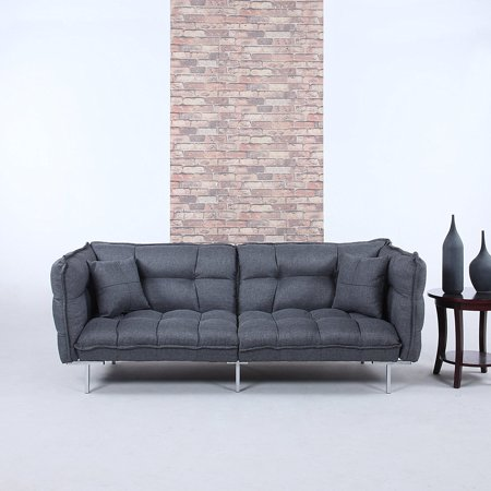 Strange Modern Plush Tufted Linen Fabric Splitback Living Room Sleeper Futon Dark Grey Squirreltailoven Fun Painted Chair Ideas Images Squirreltailovenorg