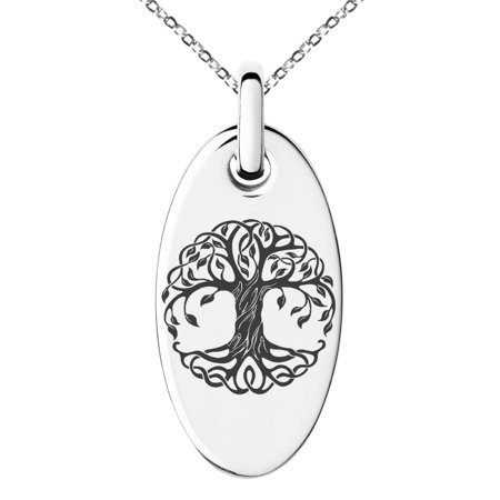 Life Celtic Knot - Stainless Steel Celtic Knot Tree of Life Engraved Small Oval Charm Pendant Necklace
