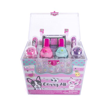 Hot Focus Carry All Cosmetic Set - 20 Piece Best Pals French Bulldog & Kitten Theme Makeup Set for Girls