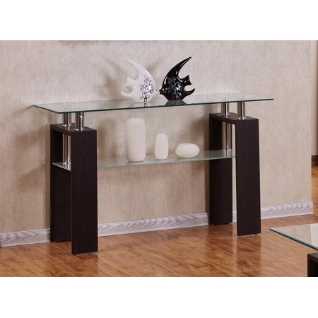 Best Quality Furniture Espresso Console Table With a Clear Glass top