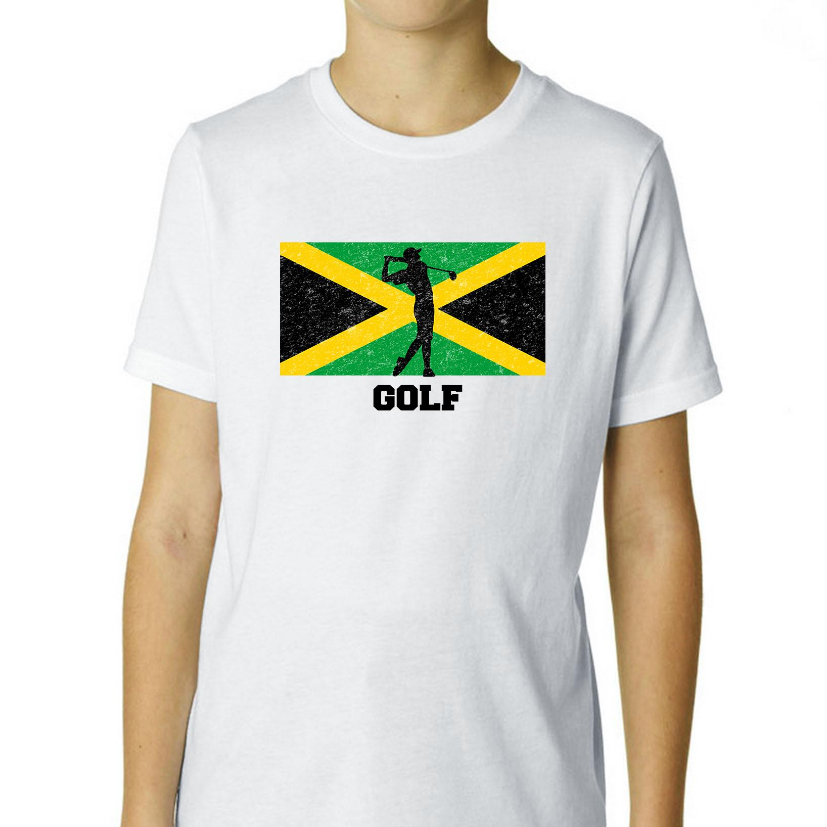 Jamaica Olympic - Golf - Flag - Silhouette Boy's Cotton Youth T-Shirt