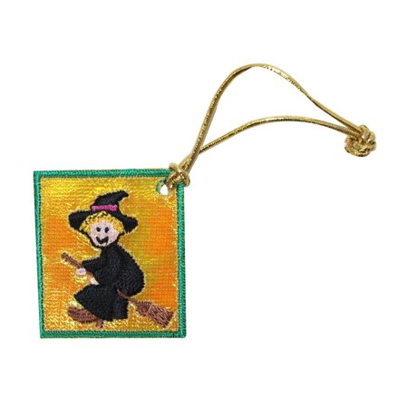 id 0839e witch on broom stick badge patch halloween embroidered iron on applique