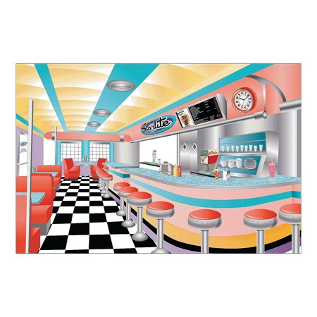 Rockin' 50s Starlite Diner Backdrop Banner, 3 piece set, creates 1 backdrop By Fun Express](Ideas For A 50s Theme Party)
