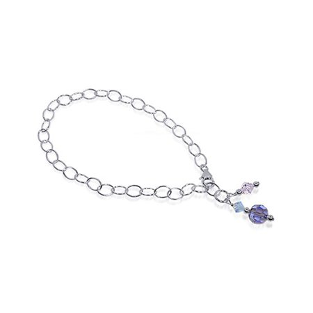 Gem Avenue Sterling Silver Multicolor Crystal Anklet Swarovski Elements