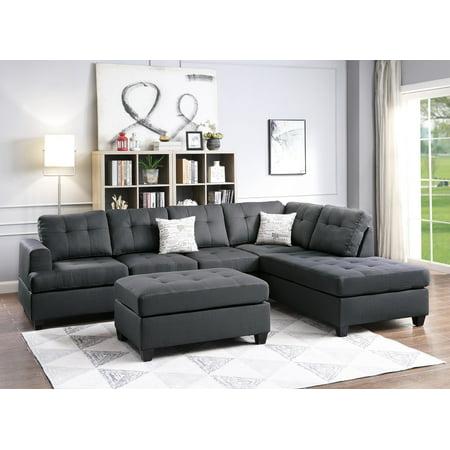 Ebony Reversible L/R Sectional Sofa set Microfiber Cushion Chaise Sofa Ottoman Couch Living Room 3pc Sofa set