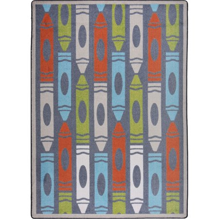 Joy Carpets Jumbo Crayons Kids Area Rug Chalkdust 3-ft 10-in 5-ft (Crayons Rug)