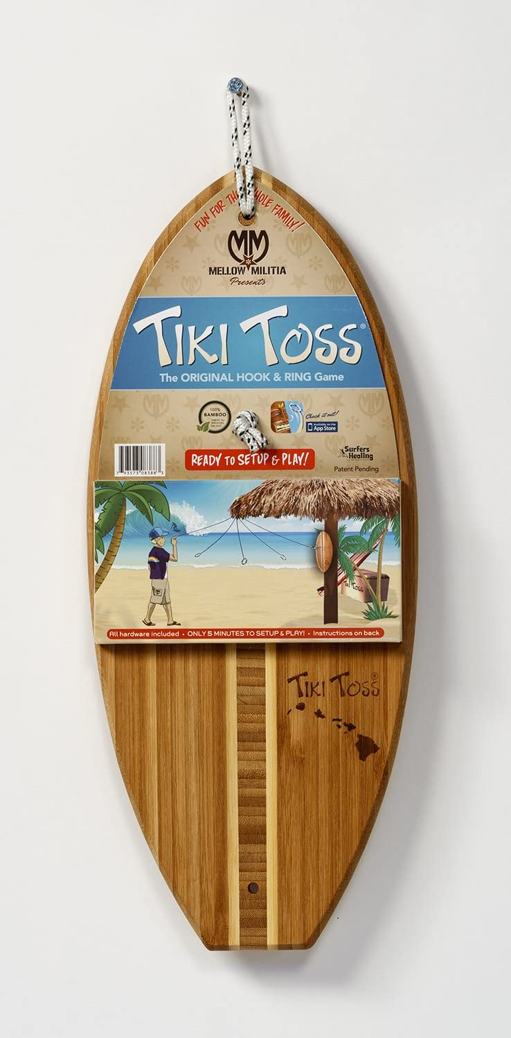 Hawaiian Edition all Parts Included Made With all Bamboo Only 5 Minutes To Setup Tiki Toss Hook and Ring Toss Game Assorted.