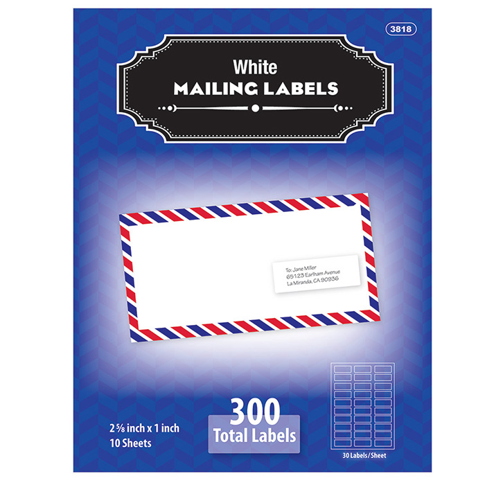 """(Price/Case of 144)Bazic Products 3818-144 1"""" X 2 5/8"""" White Address Labels (300/Pack)"""