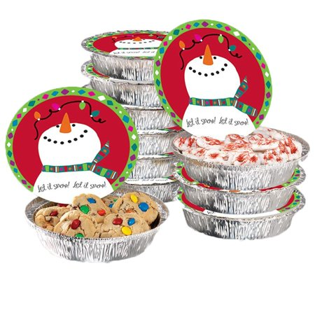 "Christmas Food Foil Containers with Festive Lids – Round Aluminum Containers, Set of 24 – Ideal for Baking, Gifting and Storing Holiday Food, Treats, Leftovers and Cookies – Tins Measure 7"" x 5"" - Christmas Cookie Gift Boxes"