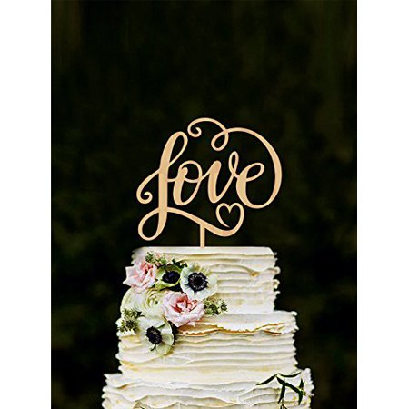 Buythrow Love wedding cake topper, unique cake toppers for weddings, Engagement, Anniverary, Bridal shower letter wooden wedding cake decoration gold