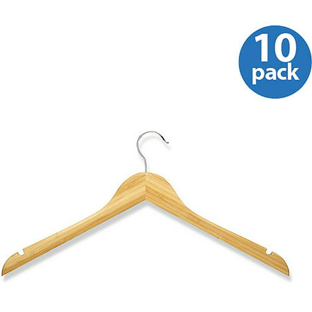 Honey Can Do Bamboo Wood Shirt Hanger with Swivel Rod Hook (Pack of 10)