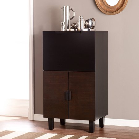 Southern Enterprises Tris Midcentury Modern Bar Cabinet  Blackened Espresso And Black