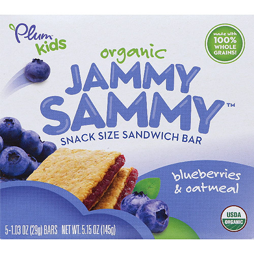 Plum Kids Organic Jammy Sammy Blueberries & Oatmeal Snack Size Sandwich Bars, 5 count, 5.15 oz, (Pack of 6)
