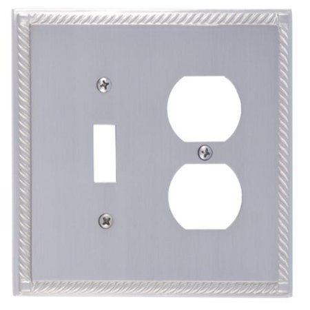 Satin Brass Double Handlebar (BRASS Accents M06-S8540-619 Georgian Switch & Outlet Double Combo Satin Nickel Switchplates )